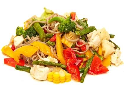 Вок курица с гречневой лапшой и овощами